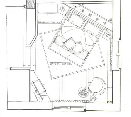 Progettazione camera matrimoniale con mobili Lema e letto Flou