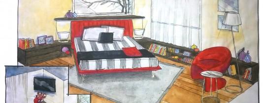 Progetto camera matrimoniale Flou Lema prospettiva
