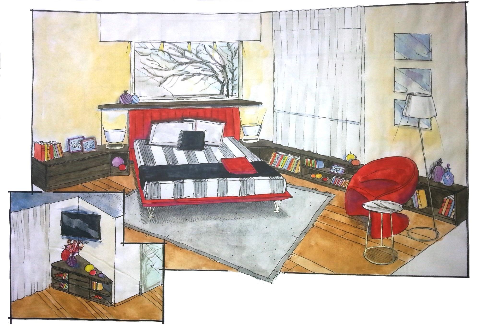 Progettazione camera matrimoniale con mobili Lema e letto ...