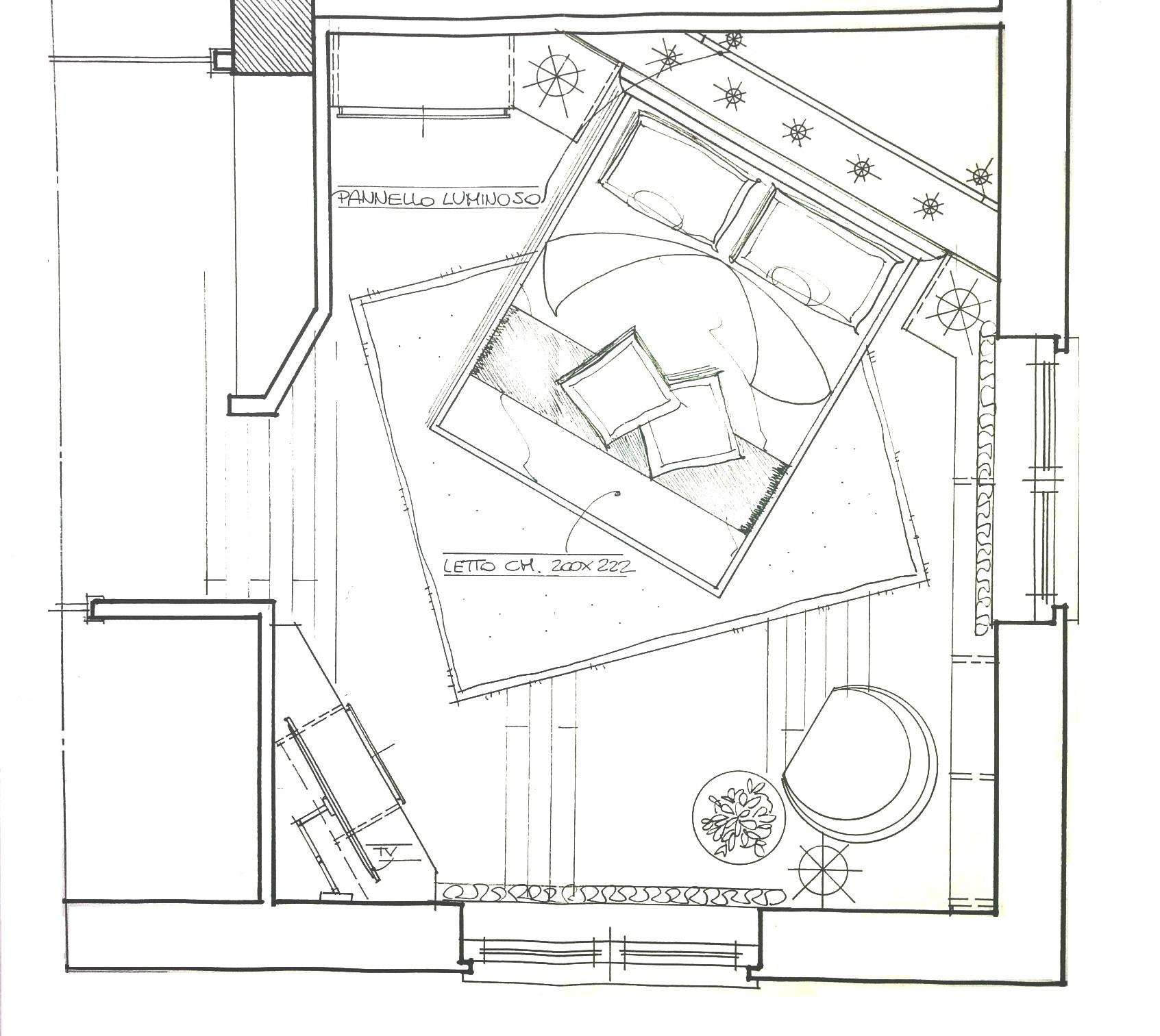 Progettazione camera matrimoniale con mobili Lema e letto Flou ...
