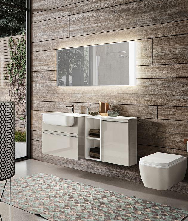 EDONÉ GIUNONE mobili bagno sospesi dalle linee morbide ed eleganti.