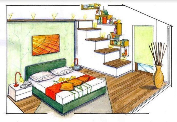 Progetto struttura camera letto con soppalco zona lavoro mobili mariani - Struttura letto soppalco ...