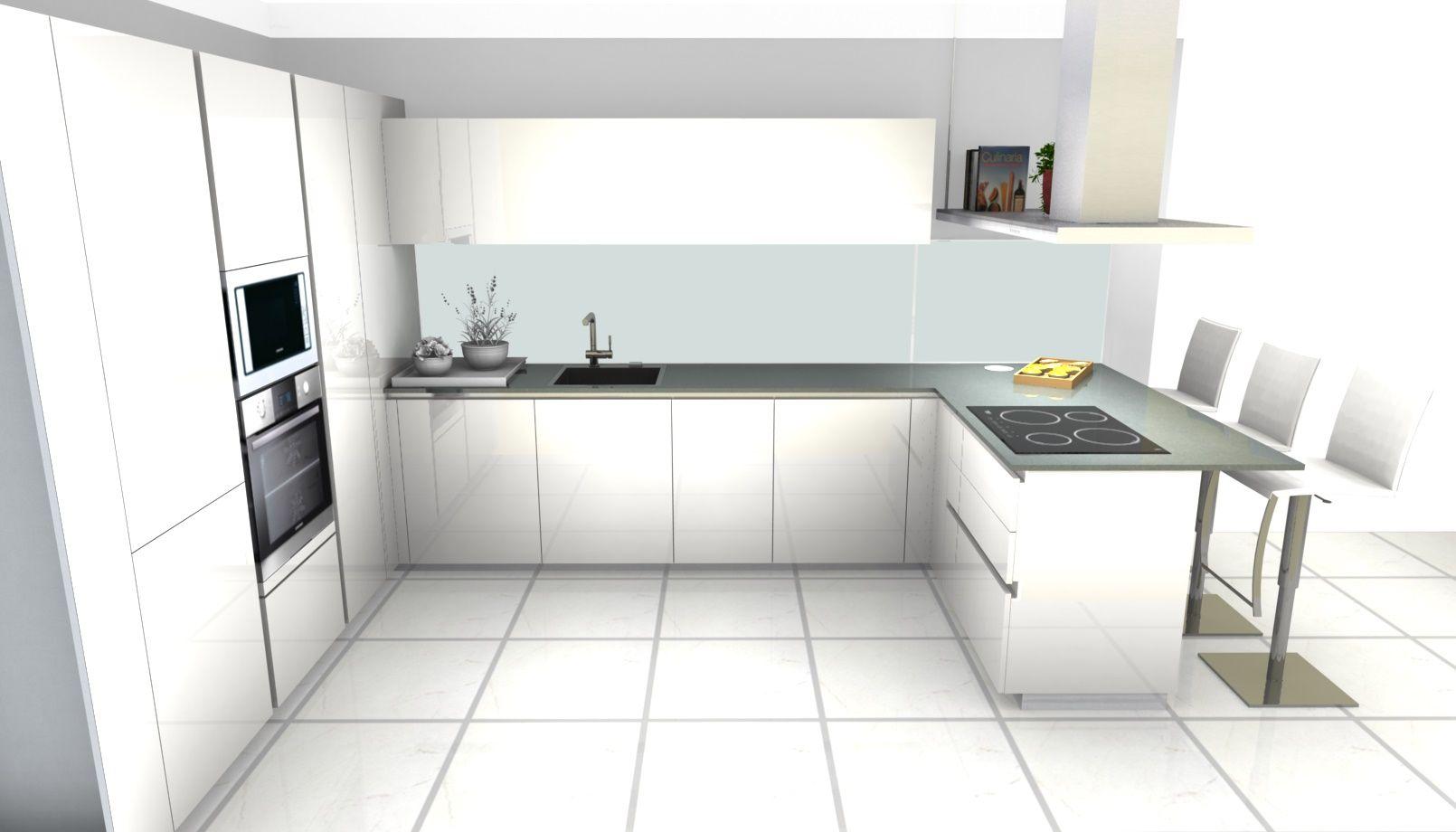 Progetto cucina ernestomeda one laccato lucido white moon - Progetto cucina angolare ...