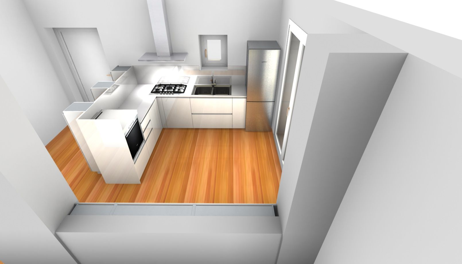 Progetto cucina ernestomeda icon air laccato lucido bianco mobili